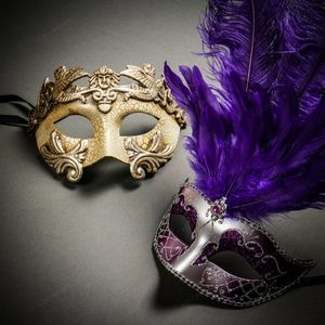 Roman Warrior Silver & Purple Feather Couple Masks